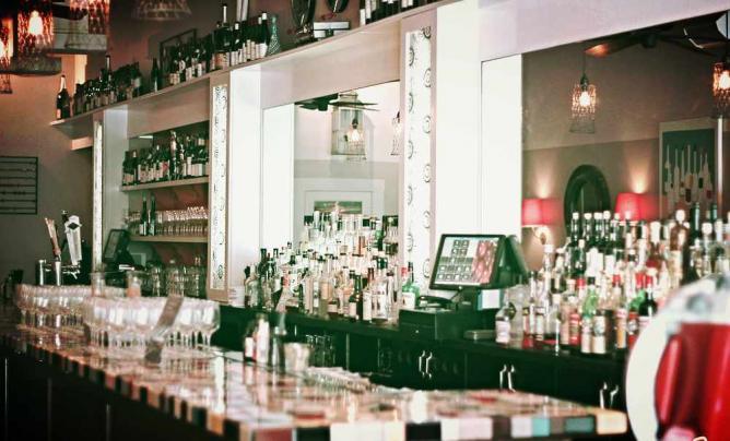 The wine bar at Ripple's bistro.