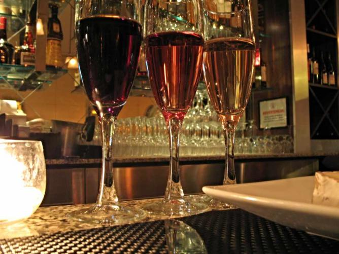 A selection of three international wines at Bardo Wine Bar.