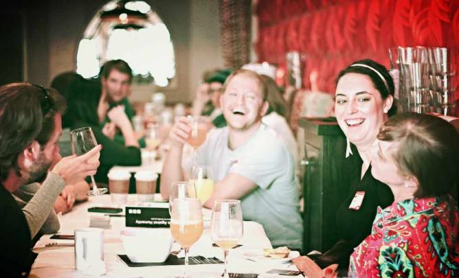 The atmosphere of Ripple is similar to other bars in the area where locals like to drink for brunch or dinner.