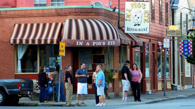 People anxiously wait to be served at In A Pig's Eye