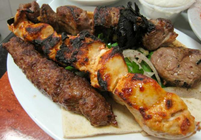 Meat grilled on skewers