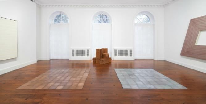 Installation view, Carl Andre In His Time, Mnuchin Gallery, New York. Photo Tom Powel Imaging.