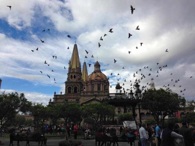 Guadalajara Cathedral from Plaza de Armas | courtesy of Alison Crosland