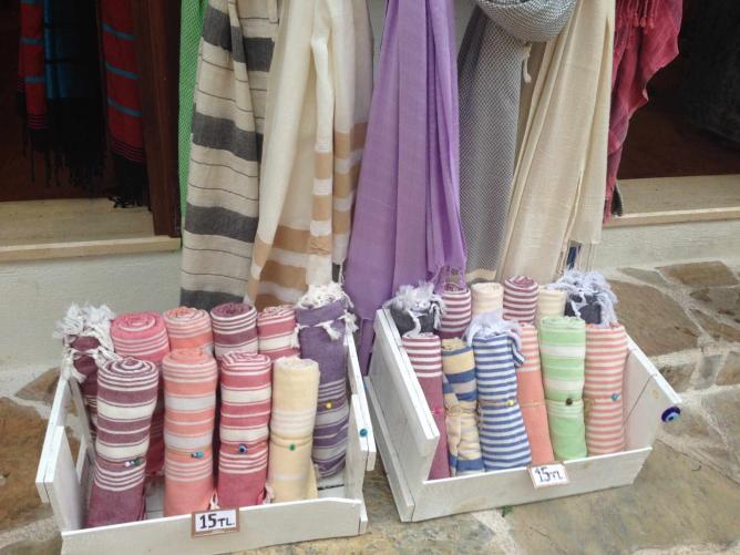 Turkish towels for sale, Kaş | Photo credit, Sarah Borg