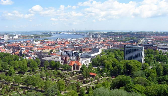 The view of Aalborg from Skanse Park
