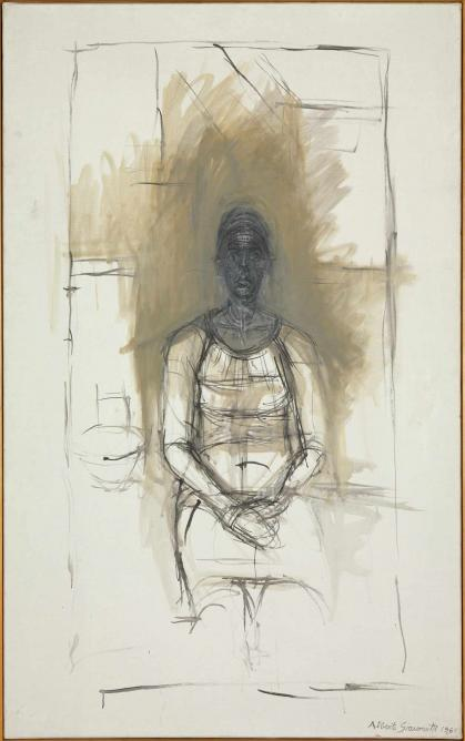Caroline, 1965, oil on canvas, 1295 x 806 mm; Tate London 2015, purchased with assistance from the Friends of the Tate Gallery © The Estate of Alberto Giacometti (Fondation Giacometti, Paris and ADAGP, Paris) 2015