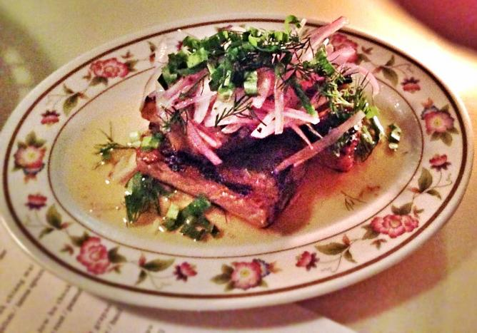 Little Serow's si krong muu: pork ribs with mekhong whiskey and dill
