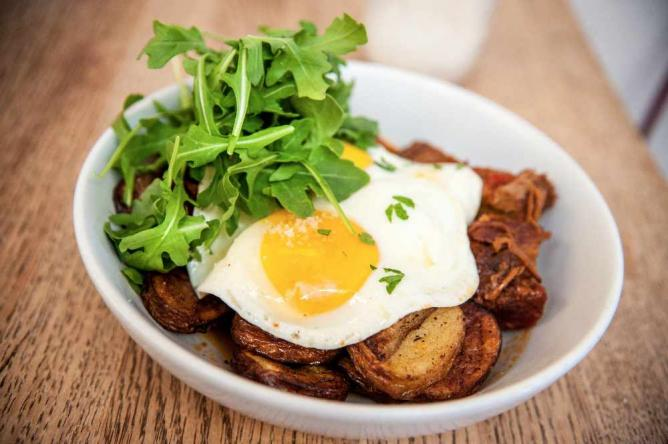 Brisket Hash at Huckleberry | © Emily Hart Roth