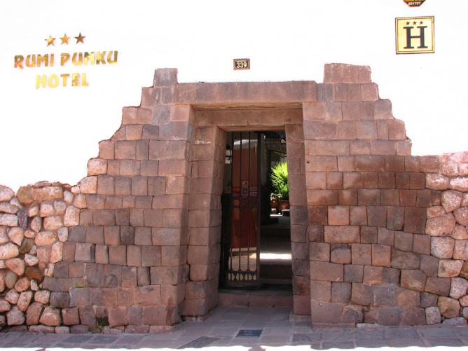 The entrance to Rumi Punku Hotel