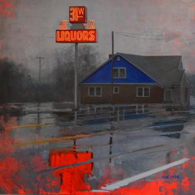 '31W' from a sign in Goodlettsville, Tennessee. Oil on panel | © Amanda H. Cook