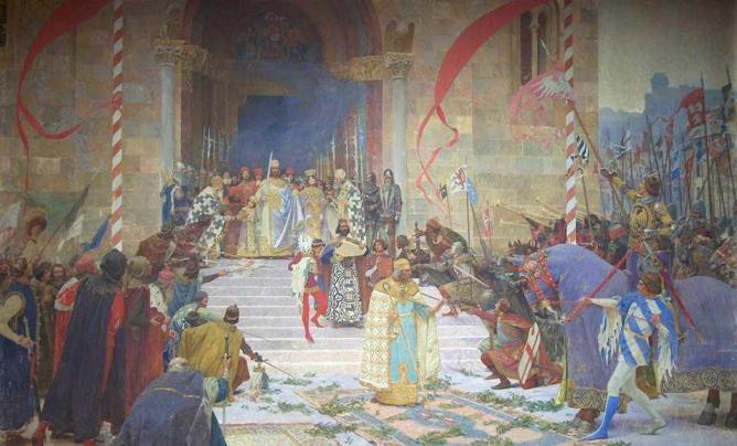 Crowning of Serbian Emperor Dusan by Paja Jovanović, 1900 © Paja Jovanović/WikiCommons