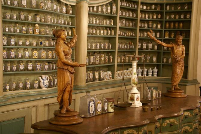 Counter in the Deutsches Apothekenmuseum