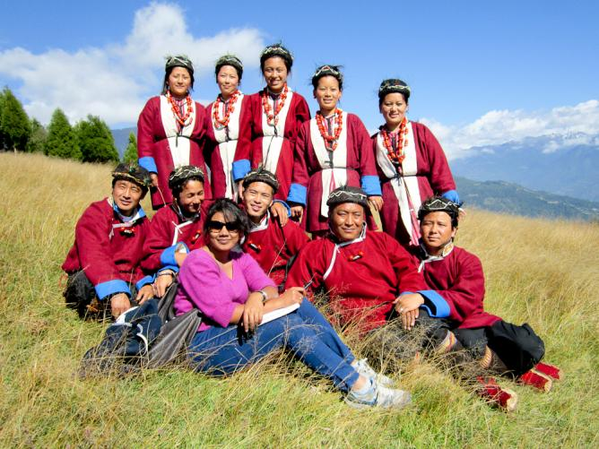 Parnashree with the locals of Arunachl Pradesh | Courtesy of Parnashree Devi
