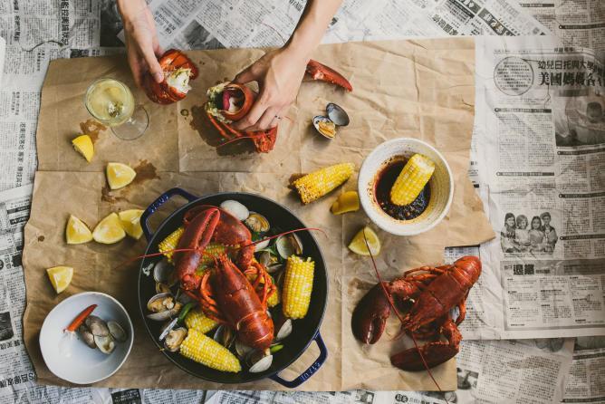 Spicy gochujang lobster boil | © Betty Liu