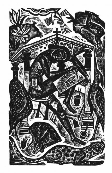 David Jones, The Artist, frontispiece to Christianity and Art by Eric Gill, 1927, wood engraving, Kettle's Yard, University of Cambridge | © Trustees of the David Jones Estate