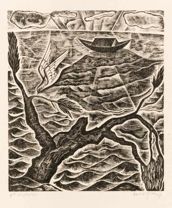 David Jones, The Dove, wood-engraving from Chester Play of the Deluge, 1927 | © Trustees of the David Jones Estate/ Amgueddfa Cymru – National Museum Wales