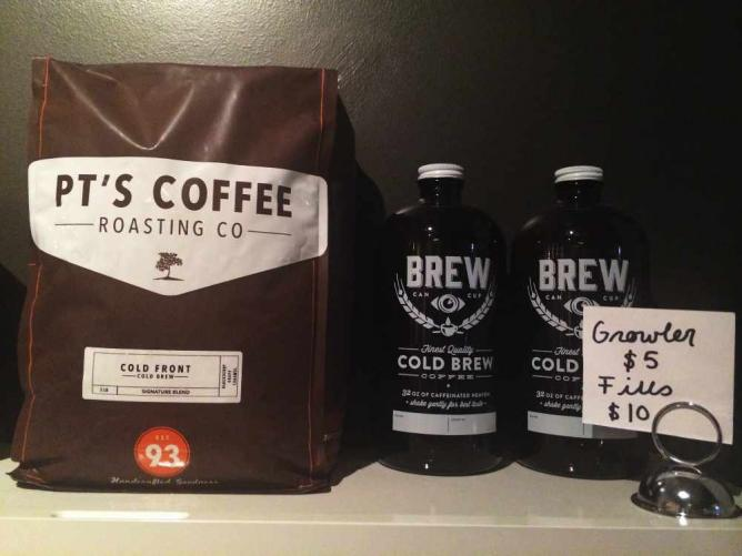 Refillable growlers and beans from PT's Coffee Roasting Co. | Courtesy of BREW Five Points