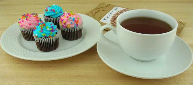 A cup of tea among art pieces
