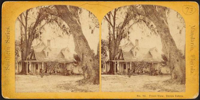 A stereograph of Harriet Beecher Stowe's home in Mandarin | © Boston Public Library