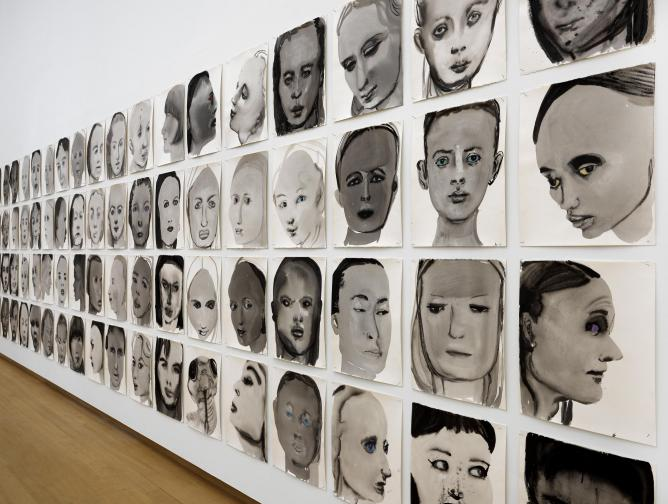Caption: Marlene Dumas, Models, 1994, in The Image as Burden installation view | Photo Gert-Jan van Rooij, Courtesy Stedelijk Museum, Amsterdam, and Marlene Dumas.