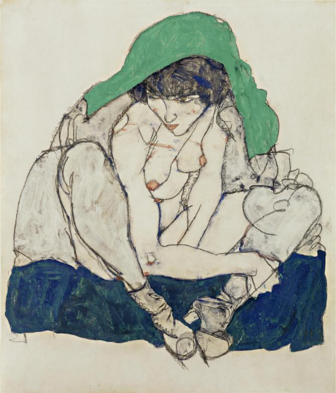 Egon Schiele (1890-1918) Crouching Woman with Green Kerchief, 1914 Pencil and gouache 47 x 31 cm The Leopold Museum, Vienna
