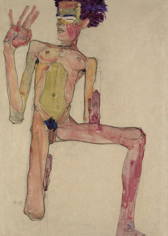 Egon Schiele (1890-1918) Kneeling Nude with Raised Hands  (Self-Portrait), 1910 Black chalk and gouache on paper 63 x 45 cm The Leopold Museum, Vienna