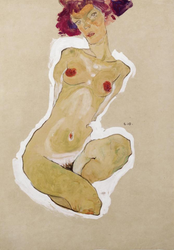 Egon Schiele Squatting Female Nude, 1910  Black chalk, gouache and opaque white 44.7 x 31 cm The Leopold Museum, Vienna