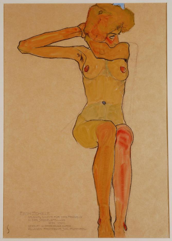 Egon Schiele Seated Female Nude with Raised Arm (Gertrude Schiele), 1910 Gouache, watercolour and black crayon,  45 x 31.5 cm Wien Museum, Vienna