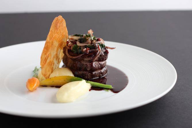 Filet of beef, garlic potato purée and red wine-shallot sauce | Courtesy of Mélisse