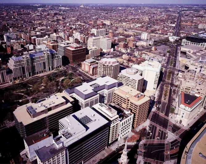 Aerial View of Downtown Washington DC