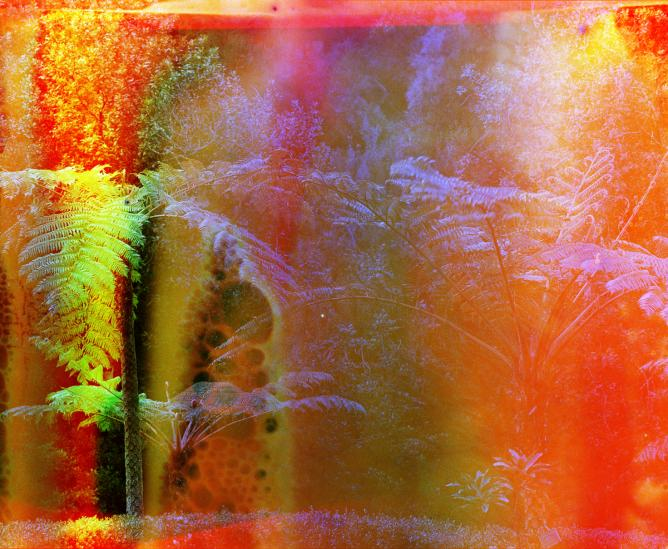 """Basim Magdy, """"Fate Brought Us to the Shores of a Lava Lake at Dawn (no. 1)"""", c-print from a chemically altered negative on metallic paper, 82 x 100 cm, 2014 
