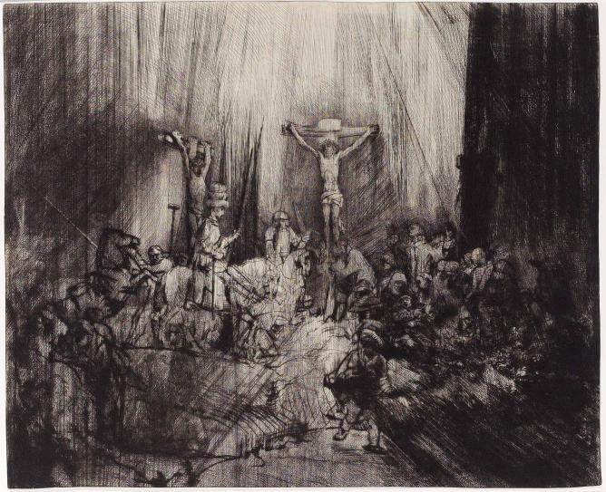 """Rembrandt van Rijn, """"The Three Crosses"""", drypoint, 1653 