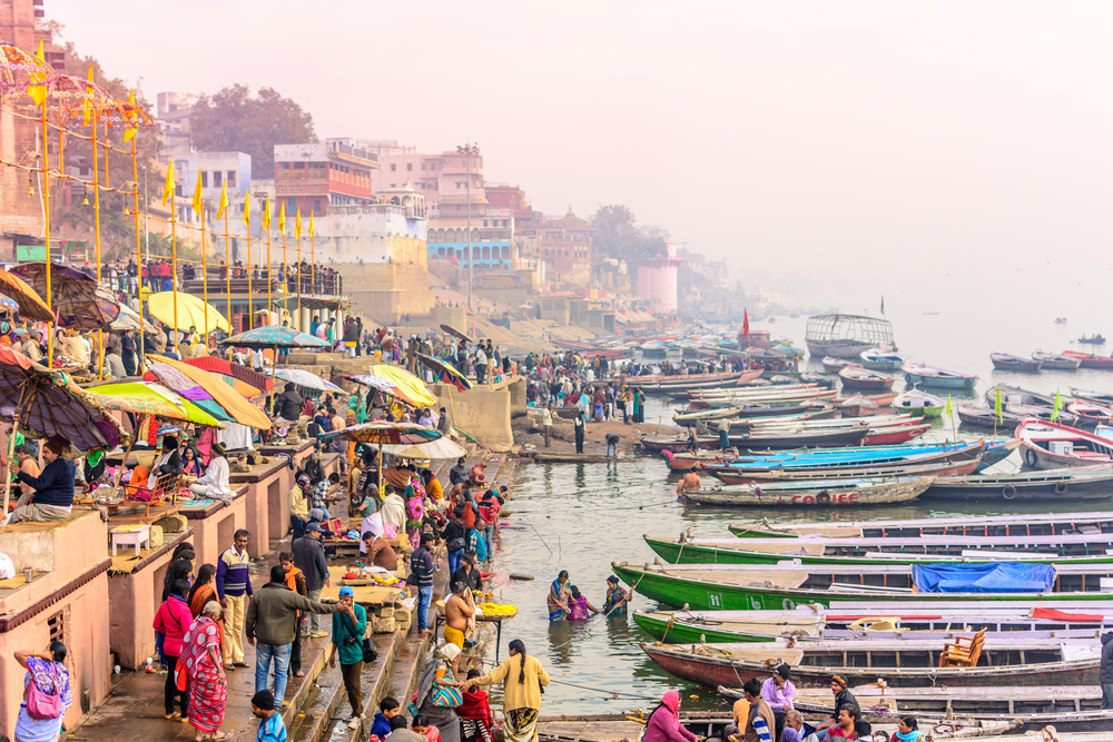 Morning view of holy ghats of river Ganges in Varanasi © Sumit.Kumar.99/Shutterstock