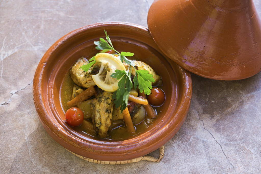 Tajine of monkfish, souk vegetables | Courtesy of Le Grand Café de la Poste