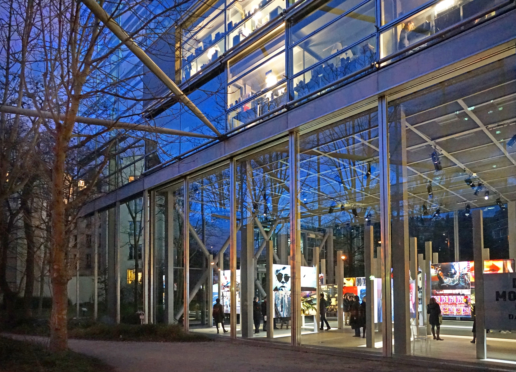The Fondation Cartier is housed in an impressive glass building