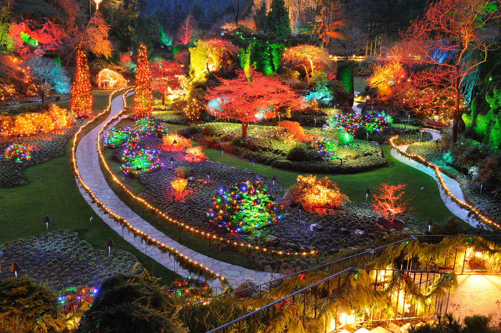 The top 10 restaurants in victoria british columbia beautiful sunken garden night scene in christmas in historic butchart gardens victoria british columbia canada 2009fotofriends shutterstock sciox Gallery