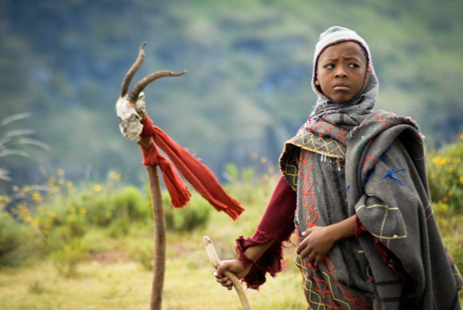 Lebohang Ntsane during the filming of The Forgotten Kingdom in Lesotho | © Meri Hyöky Photography
