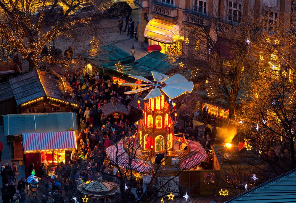 Typical wooden christmas carousel, Munich, Bavaria, Germany ©Antonio Gravante / Shutterstock