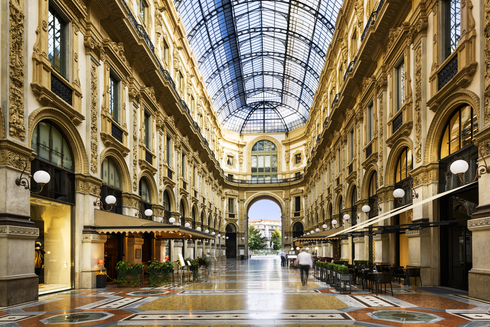 Glass dome of Galleria Vittorio Emanuele in Milan, Italy ©Ventdusud / Shutterstock