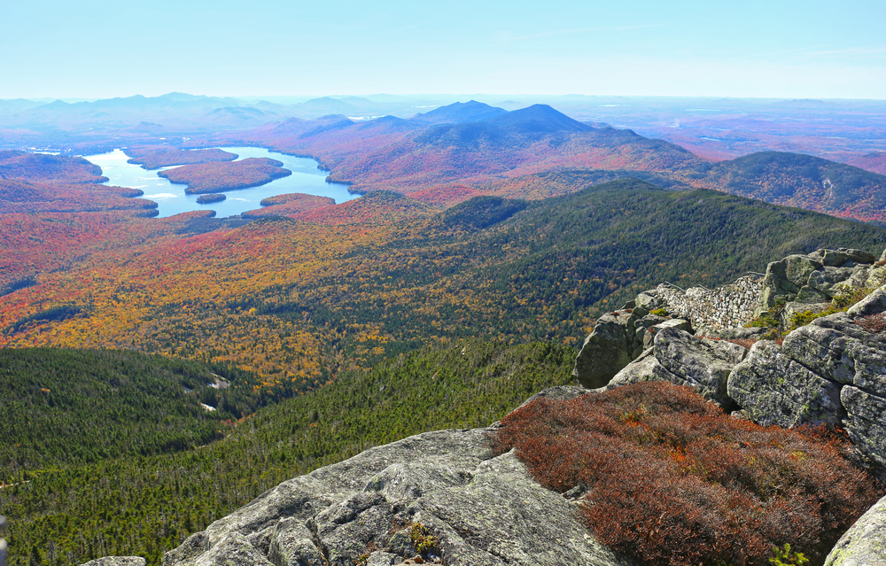 Lake Placid view from top of Whiteface Mountain in fall © Alexsvirid / Shutterstock