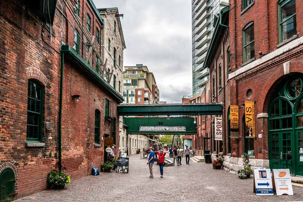 Distillery District historic and entertainment precinct, It contains numerous cafes, restaurants and shops. © Kiev.Victor / Shutterstock