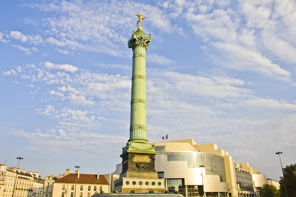 Place de la Bastille and the and Opera Bastille, Paris