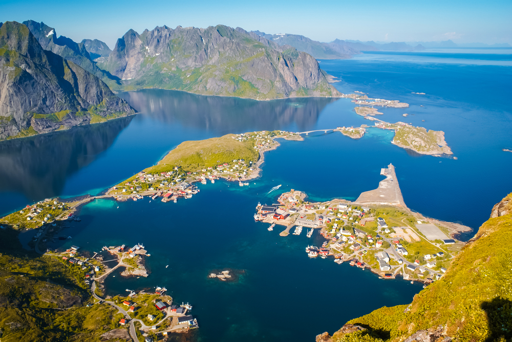 Scenic aerial view of countryside and sea from Mount Reinebringen on Lofoten islands in Norway © Michal Knitl / Shutterstock