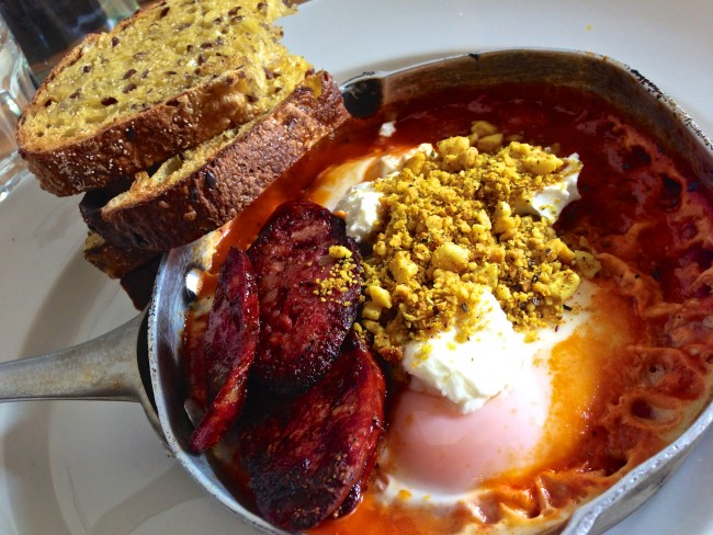 Baked Eggs and Chorizo © Katherine Lim