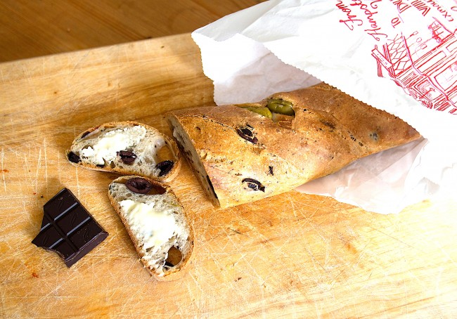 Gail's mixed olive sourdough bread with Green & Black's organic dark chocolate | © brett jordan/Flickr