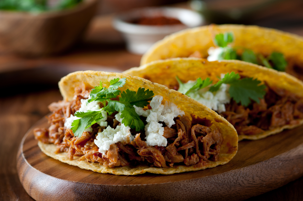 Pulled pork tacos with feta cheese and cilantro | © cobraphotography/Shutterstock