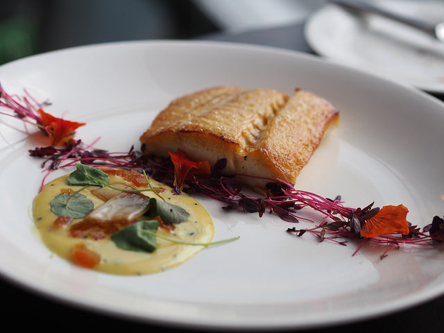 The Bath Priory offers roasted halibut in its dinner menu | © Chris Pople/Flickr