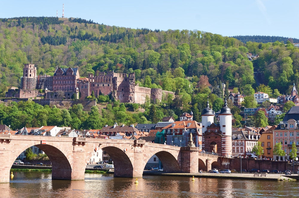 Heidelberg town with the famous Old Bridge, Germany
