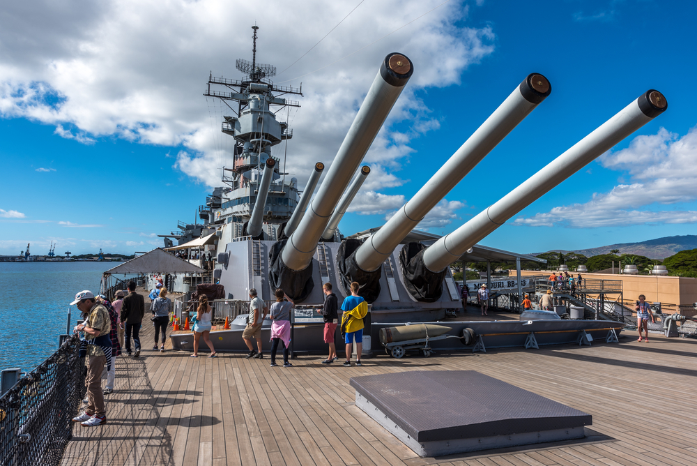 Decommissioned battleship USS Missouri where the signing of the Japanese Instrument of Surrender took place on September 2, 1945 © Phillip B. Espinasse / Shutterstock