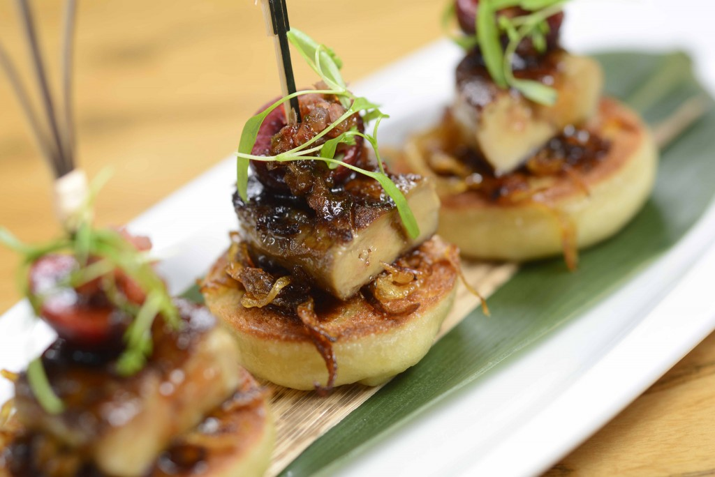 "Foie Gras with Pickled Cherry on Homemade ""Bao"" Toast 